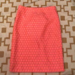 J Crew Skirt Neon Pink Polka Dot Straight Pencil 0